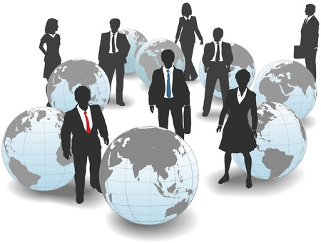 15073823 - business people stand in world group as global workforce team